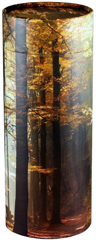 This scattering urn features a beautiful forest scene.