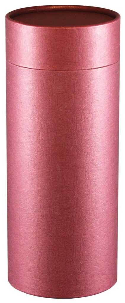 This simple burgundy scattering tube is perfect for personalization