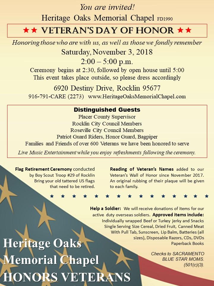 Veterans Day of Honor 2018 Invitation - Veteran's Day of Honor